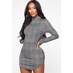 Fashion Nova Plaid & Houndstooth Mini Dress NWT